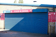 Ground shot of closed food and beverage shop during the EFL Sky Bet League 2 match between Stevenage and Bradford City at the Lamex Stadium, Stevenage, England on 5 April 2021.