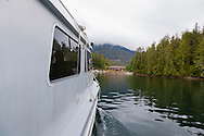 The water taxi from the Eagle Nook Wilderness Resort and Spa delivers you from Ucluelet to the resort which is located on a remote area of Vancouver Island.