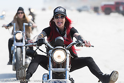 Sarah Furey and the Iron Lillies on the Hot Leathers on the beach during the Daytona Bike Week 75th Anniversary event. FL, USA. Tuesday March 8, 2016.  Photography ©2016 Michael Lichter.