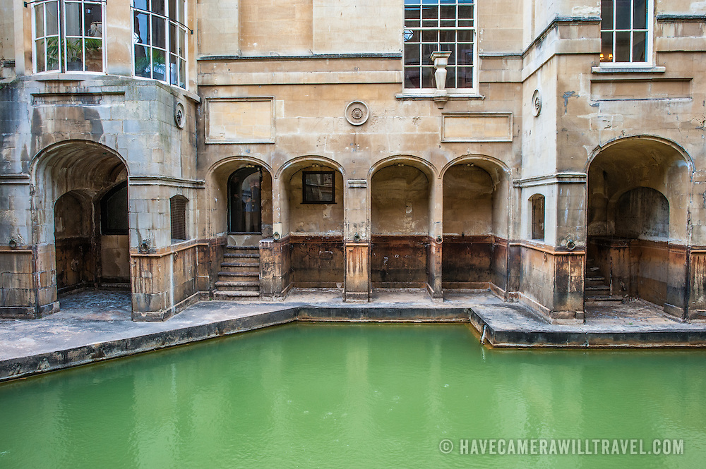 Some of the historic Roman baths in Bath, Somerset. The naturally warm spring waters have been used since the Roman occupation of Britain.