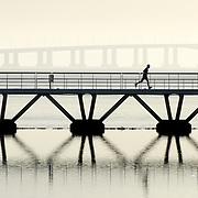 Man running at Lisbon's parque das nações