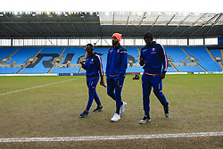 6 January 2018 -  The FA Cup - 3rd Round - Coventry City v Stoke City - Saido Berahino, Eric Maxim Choupo-Moting and Kurt Zouma inspect the heavily worn pitch at the Richoh Arena before kick off - Photo: Marc Atkins/Offside