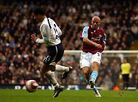 Photo: Olly Greenwood.<br />Tottenham Hotspur v West Ham United. The Barclays Premiership. 22/10/2006. West Ham's Paul Konchesky shoots at goal
