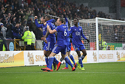 March 16, 2019 - Burnley, Lancashire, United Kingdom - BURNLEY, UK 16TH MARCH Leicester City's Wes Morgan celebrates after scoring their second goal during the Premier League match between Burnley and Leicester City at Turf Moor, Burnley on Saturday 16th March 2019. (Credit: Mark Fletcher   MI News) (Credit Image: © Mi News/NurPhoto via ZUMA Press)