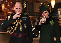 File photo dated 17/03/18 of the Duke and Duchess of Cambridge attending the St Patrick's Day parade at Cavalry Barracks in Hounslow, to present shamrock to officers and guardsmen of 1st Battalion the Irish Guards. William and Kate are celebrating their ninth wedding anniversary. The PA news agency take a look at their time together over the years.