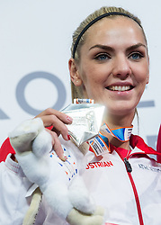 Second placed Ivona Dadic of Austria celebrates at trophy ceremony after the Pentathlon Women competition on day one of the 2017 European Athletics Indoor Championships at the Kombank Arena on March 3, 2017 in Belgrade, Serbia. Photo by Vid Ponikvar / Sportida