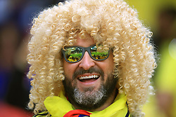 A Colombia fan shows his support ahead of the FIFA World Cup 2018, round of 16 match at the Spartak Stadium, Moscow.
