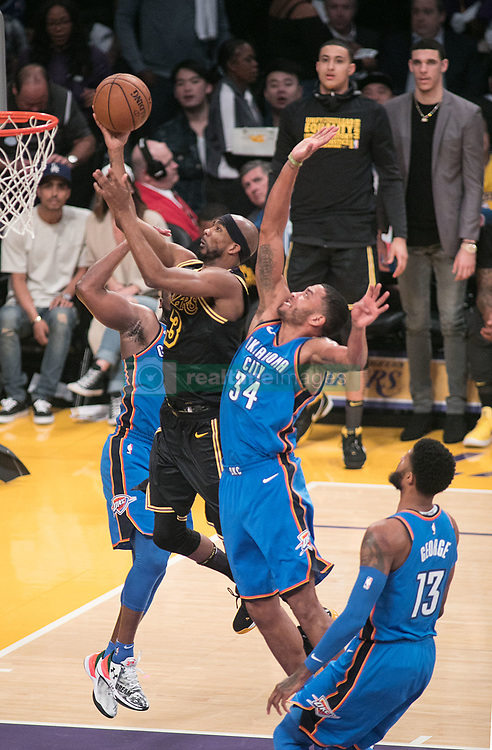February 8, 2018 - Los Angeles, California, U.S - Corey Brewer #3 of the Los Angeles Lakers goes for a layup during their NBA game with the Oklahoma Thunder on Thursday February 8, 2018 at the Staples Center in Los Angeles, California. Lakers vs. Thunder. (Credit Image: © Prensa Internacional via ZUMA Wire)