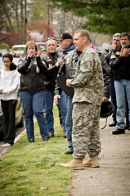 Jacob Newcomb receives a tribute welcome home from Warriors' Watch and others.