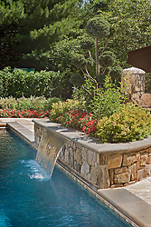 Deck patio Verandah Porch Pool pool house stone wall