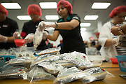 """Sealed bags of food containing rice, soy, and vegetables are packaged by more than 300 SanDisk employees work together to pack food during the Stop Hunger Now Foundation's """"Mayday, Mayday"""" food-packing event at SanDisk Corporation in Milpitas, California, on May 13, 2014. (Stan Olszewski/SOSKIphoto)"""