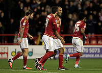 Nottingham Forest's Chris O'Grady celebrates scoring this sides second goal with team-mate Nottingham Forest's Daniel Pinillos<br /> <br /> Photographer David Shipman/CameraSport<br /> <br /> Football - The Football League Sky Bet Championship - Nottingham Forest v Fulham - Saturday 5th December 2015 - City Ground - Nottingham<br /> <br /> © CameraSport - 43 Linden Ave. Countesthorpe. Leicester. England. LE8 5PG - Tel: +44 (0) 116 277 4147 - admin@camerasport.com - www.camerasport.com