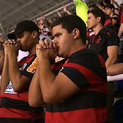 Flamengo fans in prayer during their teams match against Palmeiras in the Futebol Brasileirao  League match at Estadio Olímpico Joao Havelange, Rio de Janeiro, Palmeiras won the match 3-1. Rio de Janeiro,  Brazil. 25th September 2010. Photo Tim Clayton