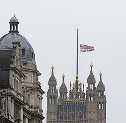 Scotland Yard, London, March 23rd 2017. The flag on Victoria Tower flies at half mast following Tuesday's terrorist attack on Westminster Bridge and in the grounds of Parliament, in which four people and their attacker were killed with over 40 injured.