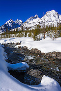 The Tetons in winter above Cottonwood Creek, Grand Teton National Park, Wyoming USA
