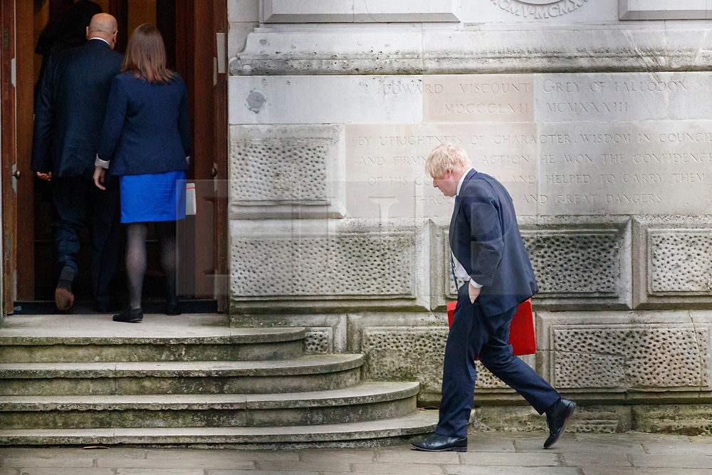 © Licensed to London News Pictures. 08/01/2018. London, UK. Foreign Secretary Boris Johnson arrives at Foreign Office in London as a cabinet reshuffle starts on Monday, 8 January 2018. Photo credit: Tolga Akmen/LNP