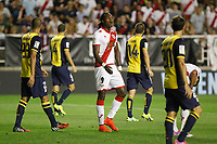 Rayo Vallecano´s Manucho (C) complains after losing a chance during 2014-15 La Liga match at Vallecas stadium. August 25, 2014. (ALTERPHOTOS/Victor Blanco)