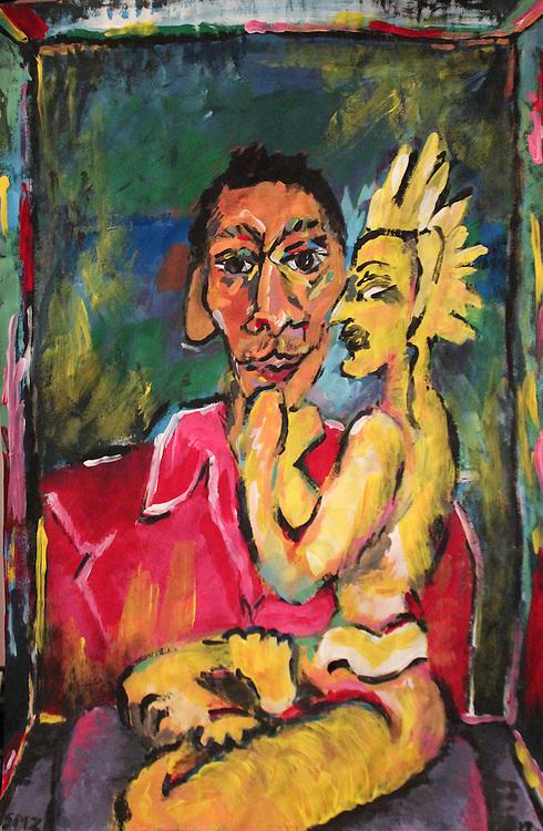 "Man with Buddha – 12""x18"", Acrylic on paper, 2012"