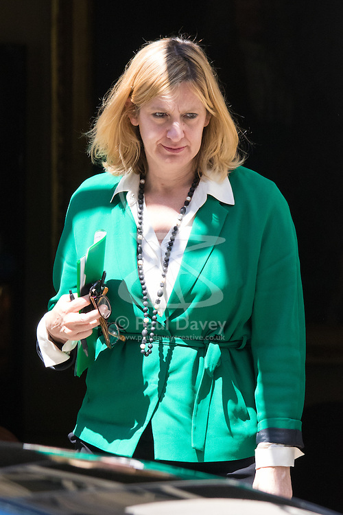 Downing Street, London, June 16th 2015. Amber Rudd, Secretary of State for Energy and Climate Change leaves 10 Downing Street.