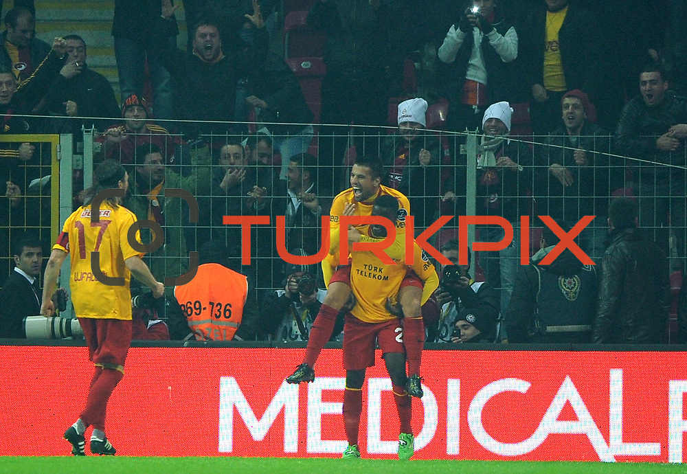 Galatasaray's Milan Baros (B) celebrate his goal with team mate during their Turkish Super League soccer match Galatasaray between IBBSpor at the TT Arena at Seyrantepe in Istanbul Turkey on Tuesday, 03 January 2012. Photo by TURKPIX