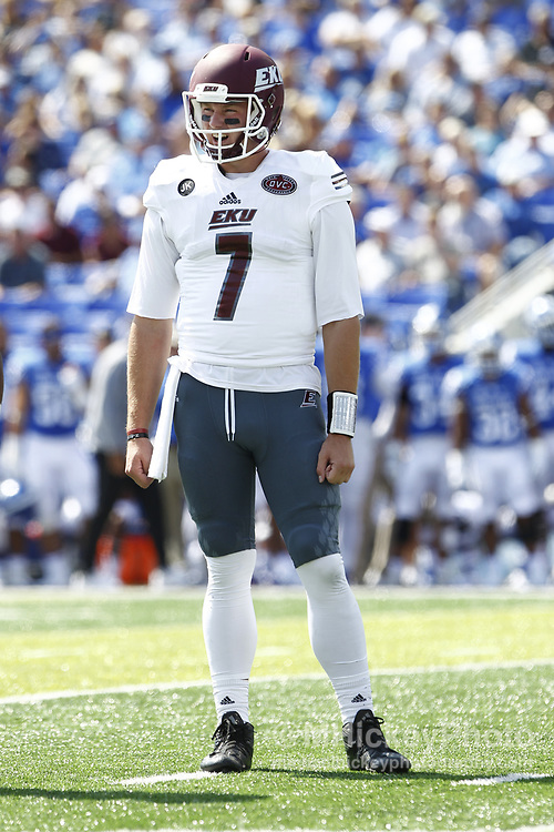 LEXINGTON, KY - SEPTEMBER 09: Tim Boyle #7 of the Eastern Kentucky Colonels is seen during the game against the Kentucky Wildcats at Kroger Field on September 9, 2017 in Lexington, Kentucky. (Photo by Michael Hickey/Getty Images) *** Local Caption *** Tim Boyle