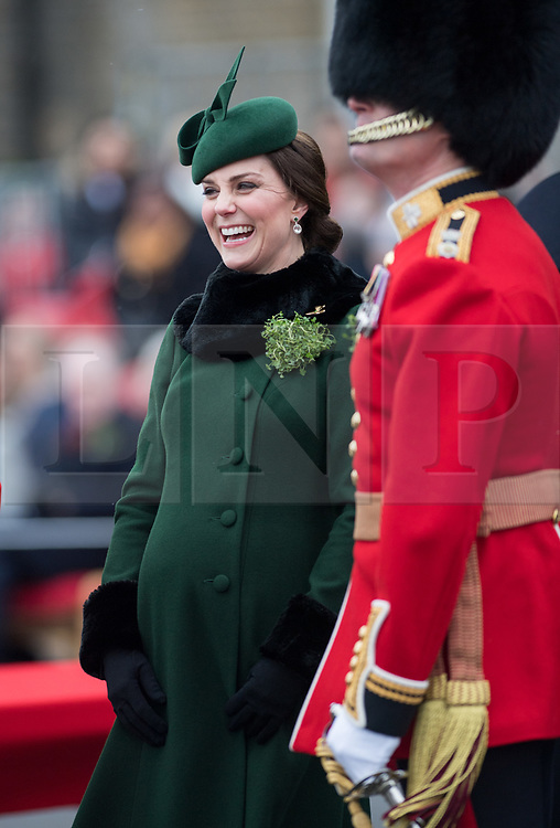 © London News Pictures. 17/03/2018. Hounslow, UK. THE DUKE AND DUCHESS OF CAMBRIDGE ATTEND THE IRISH GUARDS' ST PATRICK'S DAY PARADE. <br /> Photo credit: Sgt Rupert Frere/LNP