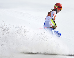February 15, 2018 - Pyeongchang, South Korea - MIKAELA SHIFFRIN of the United States kicks up snow in the finish area of the Womens Giant Slalom event Thursday, February 15, 2018 at the Yongpyang Alpine Center at the Pyeongchang Winter Olympic Games.  Photo by Mark Reis, ZUMA Press/The Gazette (Credit Image: © Mark Reis via ZUMA Wire)