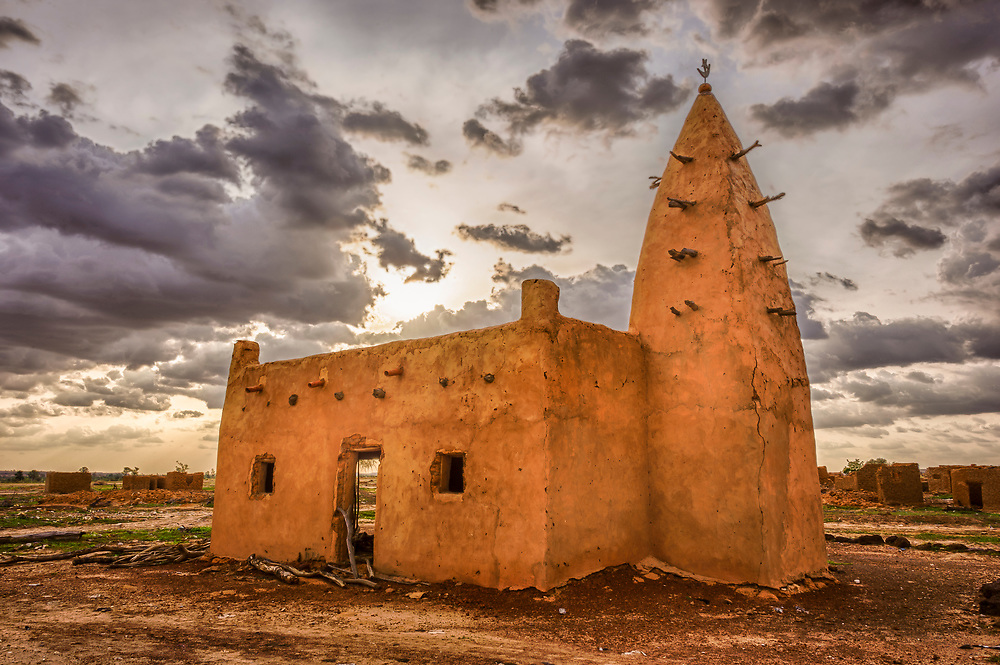 HDR image of an abandoned traditional Peuhl mosque in the Sahel of northern Burkina Faso