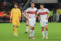 02.11.2018, 1. BL, VfB Stuttgart vs Eintracht Frankfurt, Mercedes Benz Arena Stuttgart, Fussball, Sport, im Bild:...Nach dem Abpfiff sind Ron-Robert Zieler (VFB Stuttgart), Christian Gentner (VFB Stuttgart) und Benjamin Pavard (VFB Stuttgart) geschlagen..DFL REGULATIONS PROHIBIT ANY USE OF PHOTOGRAPHS AS IMAGE SEQUENCES AND / OR QUASI VIDEO...Copyright: Philippe Ruiz..Tel: 089 745 82 22.Handy: 0177 29 39 408.e-Mail: philippe_ruiz@gmx.de. (Credit Image: © Philippe Ruiz/Xinhua via ZUMA Wire)