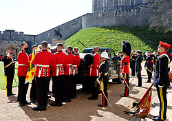 Pall bearers Major General Matthew Holmes, Lieutenant General Roland Walker, Major General Rupert Jones, Lieutenant General Sir James Hockenhull, Brigadier Ian Mortimer, Brigadier James Roddis, Lieutenant General Paul Jacques, and Group Captain Nick Worrall carry the coffin of the Duke of Edinburgh at the funeral of the Duke of Edinburgh at Windsor Castle, Berkshire. Picture date: Saturday April 17, 2021.