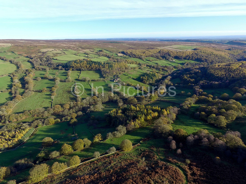 Aerial view of Farndale in North Yorkshire, United Kingdom on 8th November 2017.  Farndale is an isolated agricultural valley in the North York Moors National Park surrounded by some of the wildest moorland in England