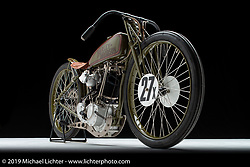 Michael Lange's One Skinny 8-Valve is a 1927 Harley-Davidson Factory 1/2 Mile 8-valve Racer that was built 23 years ago and has been raced several times. Michael has been racing board track motorcycles for over 40 years. Photographed by Michael Lichter in Sturgis, SD. July 31, 2019. ©2019 Michael Lichter