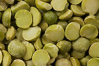 Dry split green peas.