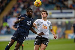 Dundee's Genseric Kusunga and Ayr United's Laurence Shankland. Dundee 0 v 3 Ayr United, Scottish League Cup Second Round, played 18/8/2018 at the Kilmac Stadium at Dens Park, Scotland.