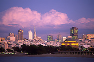 Storm clouds in evening over San Francisco, California