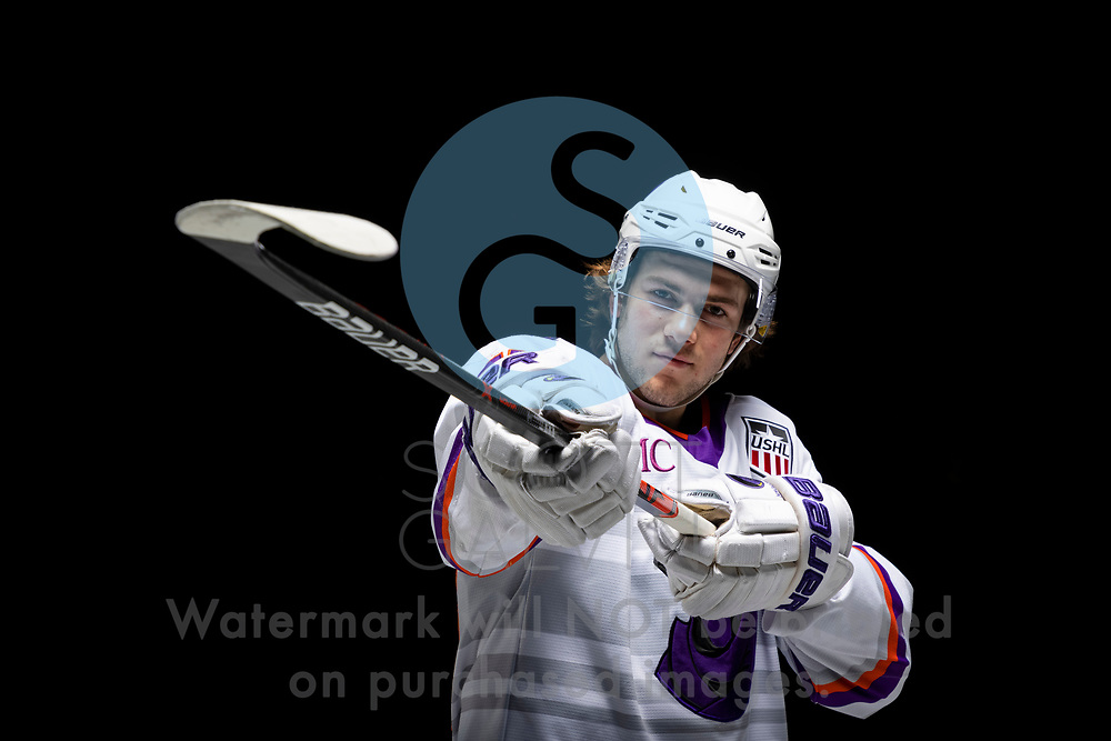Youngstown Phantoms player photo shoot on April 14, 2021. <br /> <br /> Winter Wallace, forward, 77