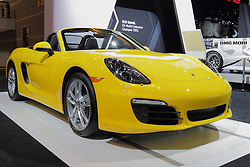 11 February 2016: 2016 Porsche Boxster.<br /> <br /> First staged in 1901, the Chicago Auto Show is the largest auto show in North America and has been held more times than any other auto exposition on the continent.  It has been  presented by the Chicago Automobile Trade Association (CATA) since 1935.  It is held at McCormick Place, Chicago Illinois<br /> #CAS16