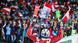 26.01.2016, Planai, Schladming, AUT, FIS Weltcup Ski Alpin, Schladming, Slalom, Herren, Siegerehrung, im Bild Sieger Henrik Kristoffersen (NOR) // Winner Henrik Kristoffersen of Norway celebrate on Podium during the winner award ceremony of men's Slalom Race of Schladming FIS Ski Alpine World Cup at the Planai in Schladming, Austria on 2016/01/26. EXPA Pictures © 2016, PhotoCredit: EXPA/ Johann Groder