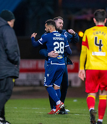 Dundee manager James McPake as scorer Dundee's Kane Hemmings is subbed. Dundee 2 v 0 Partick Thistle, Scottish Championship game played 8/2/2020 at Dundee stadium Dens Park.