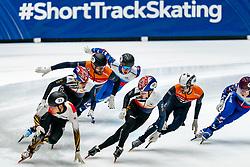 Daan Breeuwsma, Itzhak de Laat in action on the 3000 meter relay during ISU World Cup Finals Shorttrack 2020 on February 15, 2020 in Optisport Sportboulevard Dordrecht.