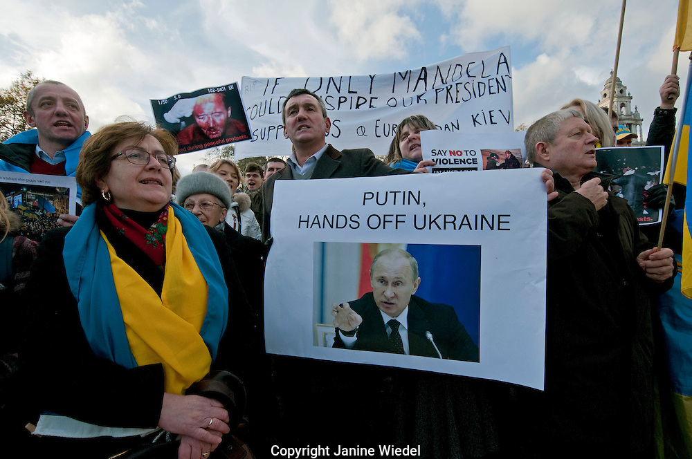 Protests in London in support of violent demonstrations in Ukraine demanding the resignation of the government under President Viktor Yanukovych.