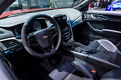 NEW YORK, USA - MARCH 23, 2016: Cadillac CTS-V interior on display during the New York International Auto Show at the Jacob Javits Center.
