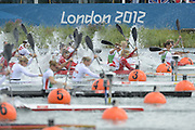 Eton Dorney, Windsor, Great Britain,..Start of the Women's Four [K4] Lane One top of the picture GBR Jess WALKER, Rachel CAWTHORN, Angela HANNAN and Louisa SAYERS at the start of the 500Meter, A Final..2012 London Olympic Canoe and Kayak Sprints Races. Regatta, Dorney Lake. Eton Dorney, Dorney Lakes. Berkshire.  Dorney Lake.  ... ..10:45:02  Wednesday  08/08/2012 [Mandatory Credit: Peter Spurrier/Intersport Images]