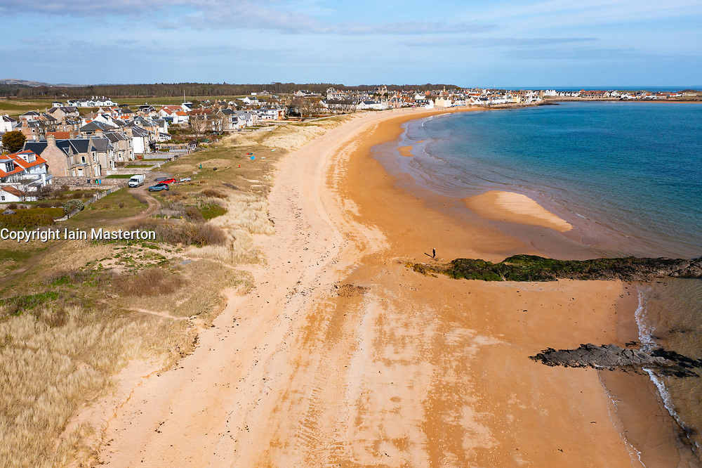 Aerial view of beach at Earlsferry and Elie on the East Neuk of Fife, in Scotland, UK