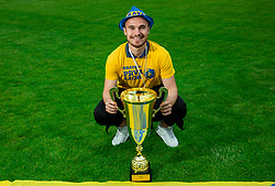 Marko Klemencic during celebration of NK Bravo, winning team in 2nd Slovenian Football League in season 2018/19 after they qualified to Prva Liga, on May 26th, 2019, in Stadium ZAK, Ljubljana, Slovenia. Photo by Vid Ponikvar / Sportida
