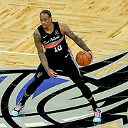 ORLANDO, FL - APRIL 12: DeMar DeRozan #10 of the San Antonio Spurs controls the ball against the Orlando Magic at Amway Center on April 12, 2021 in Orlando, Florida. NOTE TO USER: User expressly acknowledges and agrees that, by downloading and or using this photograph, User is consenting to the terms and conditions of the Getty Images License Agreement. (Photo by Alex Menendez/Getty Images)*** Local Caption *** DeMar DeRozan