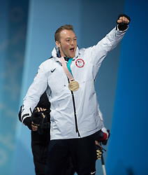 March 17, 2018 - Pyeongchang, South Korea - Jamie Stanton of the US celebrates with his new gold medal during a Medal Ceremony for the Slalom Standing event Saturday, March 17, 2018 at the Pyeongchang Medals Plaza at the Pyeongchang Winter Paralympic Games. Photo by Mark Reis (Credit Image: © Mark Reis via ZUMA Wire)
