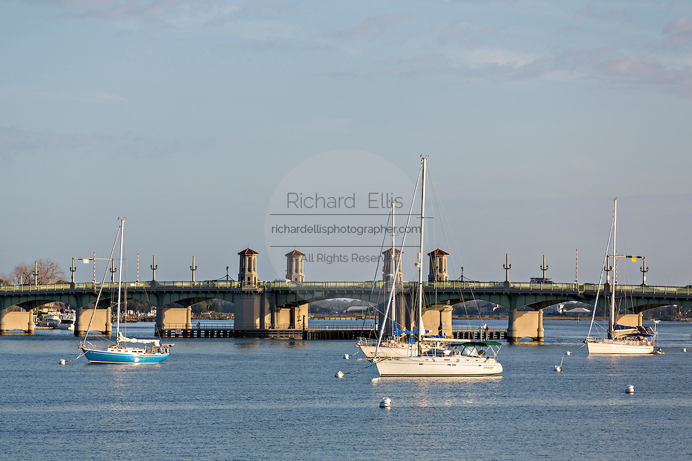 Sailboats moored in Matanzas Bay in St. Augustine, Florida. St Augustine is the oldest city in America.