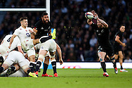 New Zealand's Ryan Crotty charges down a box kick from England's Danny Care - QBE Autumn Internationals - England vs New Zealand - Twickenham Stadium - London - 08/11/2014 - Pic Charlie Forgham-Bailey/Sportimage