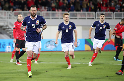 Scotland's Steven Fletcher (left) celebrates scoring his side's second goal of the game from a penalty during the UEFA Nations League, Group C1 match at the Loro Borici Stadium, Shkoder.